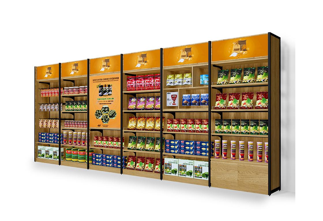 超市便利店靠墙货架系列-带灯箱