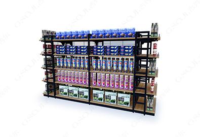 超市便利店中岛货架系列-钢木双面中岛A款