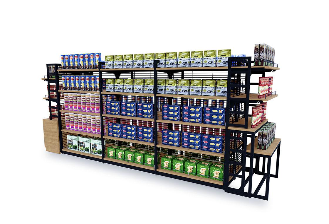 便利店超市中岛系列-钢木双面中岛B款